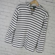 Ralph Lauren Pullover Damen MITTELGROSS M Weiß Schwarze Streifen Logo - $42.76