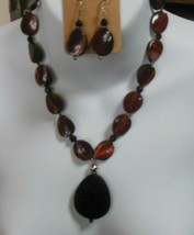 Signed SX 925 Red Tiger Eye & Black Faceted Stone Pendant Necklace & Ear... - $74.25