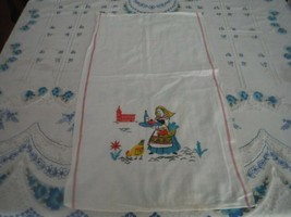 Two Vintage Dish Towels Venice Italy Motif  Turquoise, Pink, Yellow - $12.87