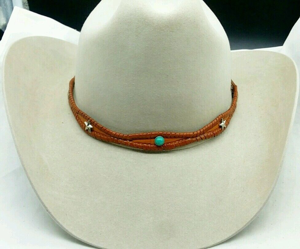 BROWN HATBAND Scalloped Braided w/ TURQUOISE and STAR CONCHOS &Buckle Hat Band