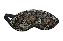 Embroidery Dragon Soft Silk Eye Mask for Sleep Eyeshade Blindfold for Travel and