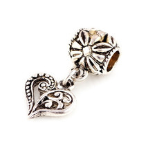 Charms 10 Pcs a Lot Silver Heart Pendant Big Hole Fits Pandora Bracelet ... - $20.99