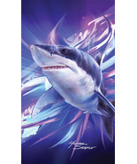 Great White Shark on the Prowl Velour Beach Towel - $19.79