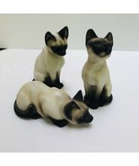 Cat Figurines JK Pottery Japan Hand Painted Siamese Kitten Trio 3 Blue E... - $42.08