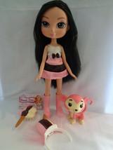 """Yummi Land Nikki Neopolitan Ice Cream Pop Doll & Pink Monkey Brunette Hair 12"""" - $25.69"""