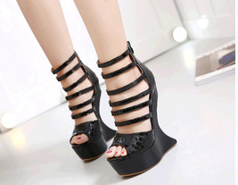 ps328 cutie strappy alien wedge sandals, US Size 4-9, black - $58.80