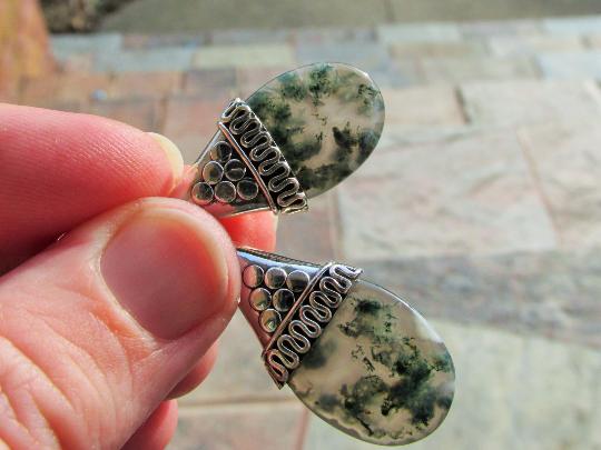 Beautiful Moss Agate Drop Earrings, One of a Kind, Sea weed