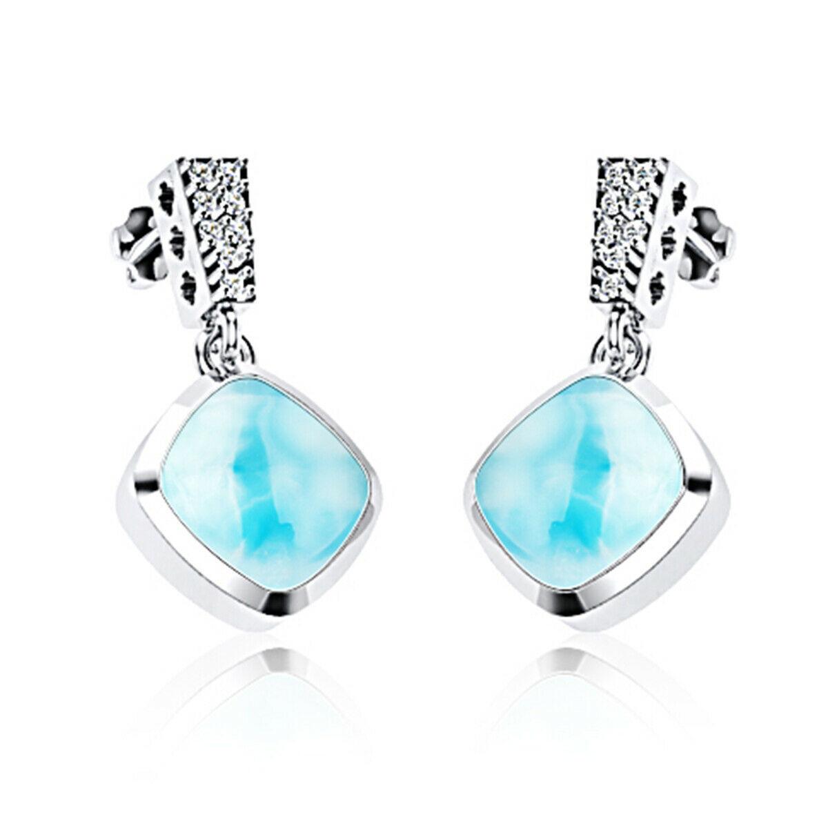 Dominican Sky Blue 8 MM Cushion Shape Statement Handmade 925 Silver Earring