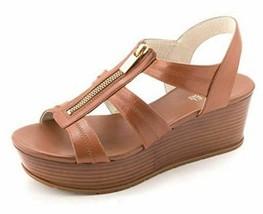 Women's Michael Michael Kors Berkley Mid Wedge Sandals Leather Luggage Us 10 - $98.01