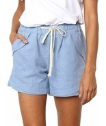 Womens Casual Drawstring Elastic Waist Comfy Cotton Linen Shorts Blue Sm... - $12.73