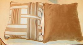 Pair of Brown Tan Cream Abstract Print Throw Pillows  10 x 10 - $29.95