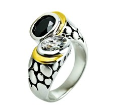 2CT Two Tone Black & Clear 5A Cubic Zirconia Bali Wrap Style Band Ring-ADJ - $29.99