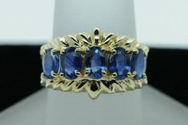 Art Nouveau Style Nissko 14K Yellow Gold Oval Natural Sapphire Ring (Siz... - $425.00