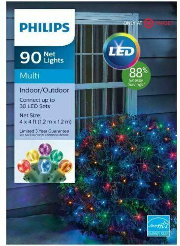 Philips 90ct 1.2m X 1.2m Noël LED Filet Corde Lumières Multicoloré Testé