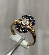 Sapphire Diamond Art Deco Ring 14k Yellow Gold Cluster Ring Size P - $1,095.86