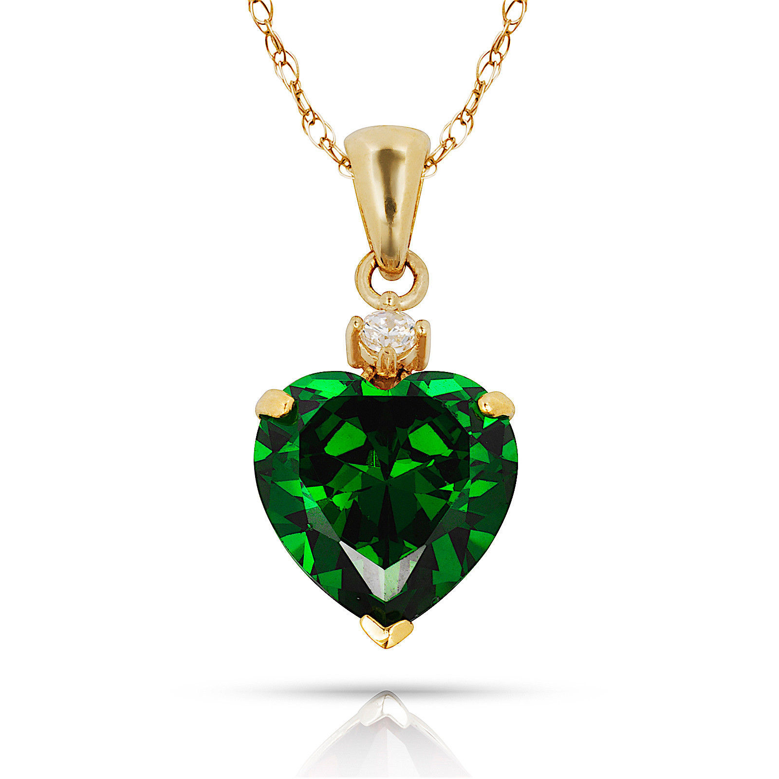 3.07Ct Created Diamond & Heart Emerald Charm Pendant14K Yellow Gold w/Chain