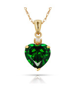 3.07Ct Created Diamond & Heart Emerald Charm Pendant14K Yellow Gold w/Chain - $68.88+