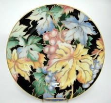 Fitz & Floyd Vineyard Salad Plate Black Gilded #467 Grapes Blue Yellow Green - $14.10