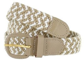 Women's Leather Covered Buckle Woven Elastic Stretch Belt New Beige/White Weave  - $9.85