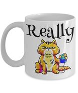 Really. Grumpy Tabby Cat Coffee Mug Grumpy Ginger Kitty Holding Computer... - $15.99