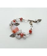 statement chunky bracelet agate carnelian rock crystal.  - $46.50
