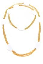 Karry O Women's Lozenge Bead Necklace Glass Golden Chain Massive RRP £1240 BCF59 - $490.89