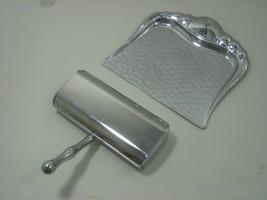Vintage Stainless Steel Sweeper & Chrome Metal Dust Pan Crumb Tray - $14.80