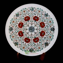 White Marble Decorative Plate Multi Marquetry Stone Inlay Work Hand Craf... - $690.00