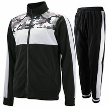 vkwear Men's Striped Athletic Running Jogging Gym Slim Fit Sweat Track Suit Set image 15