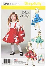 SIMPLICITY 1075 Child's Jumper, Skirt & Bag Sewing Template, Size A (3-4... - $14.21