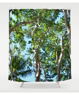 Shower curtains, Tree shower curtain, Photo 45 green blue nature trees L... - $69.99