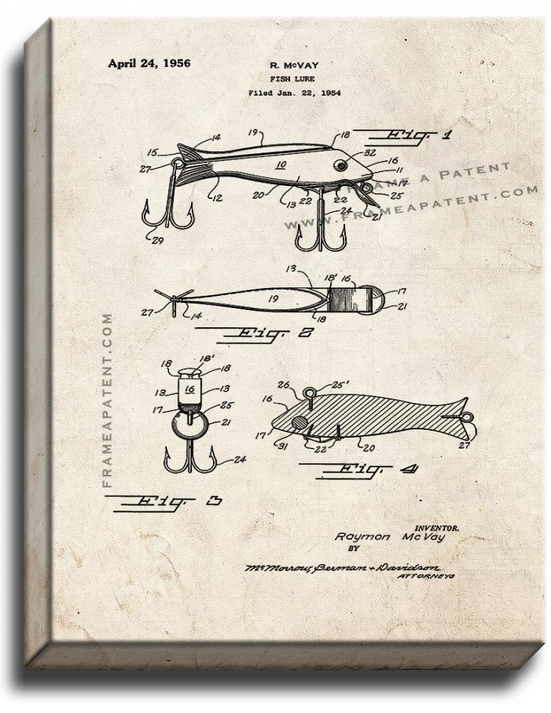 Primary image for Fish Lure Patent Print Old Look on Canvas