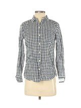 OLD NAVY WHITE BLUE GINGAM PLAID BUTTON DOWN CLASSIC SHIRT CHEST POCKET ... - $12.15