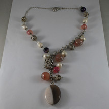 .925 SILVER RHODIUM NECKLACE WITH WHITE PEARLS, AND PINK, PURPLE AND BROWN AGATE image 2