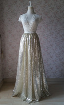 Gold Sequined Maxi Skirt High Waist Full Sequined Wedding Bridesmaid Maxi Skirts image 13