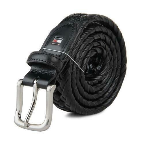 Tommy Hilfiger Men/'s Braided Belt single-prong buckle and enameled logo
