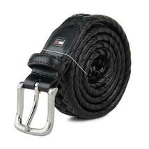 Tommy Hilfiger Men's Premium 32MM Casual Braiedd Belt Black 11TL04X007