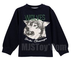 NWT GYMBOREE Wolves State Champs Printed Tee T-Shirt Long Sleeve Boy Nav... - $12.99