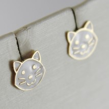 18K YELLOW GOLD PENDANT CHILD CAT EARRINGS GLAZED CATS, FLAT, MADE IN ITALY image 2