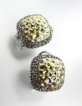 NEW Designer Style Balinese Gold Texture Silver Filigree Omega Latch Earrings - £16.71 GBP