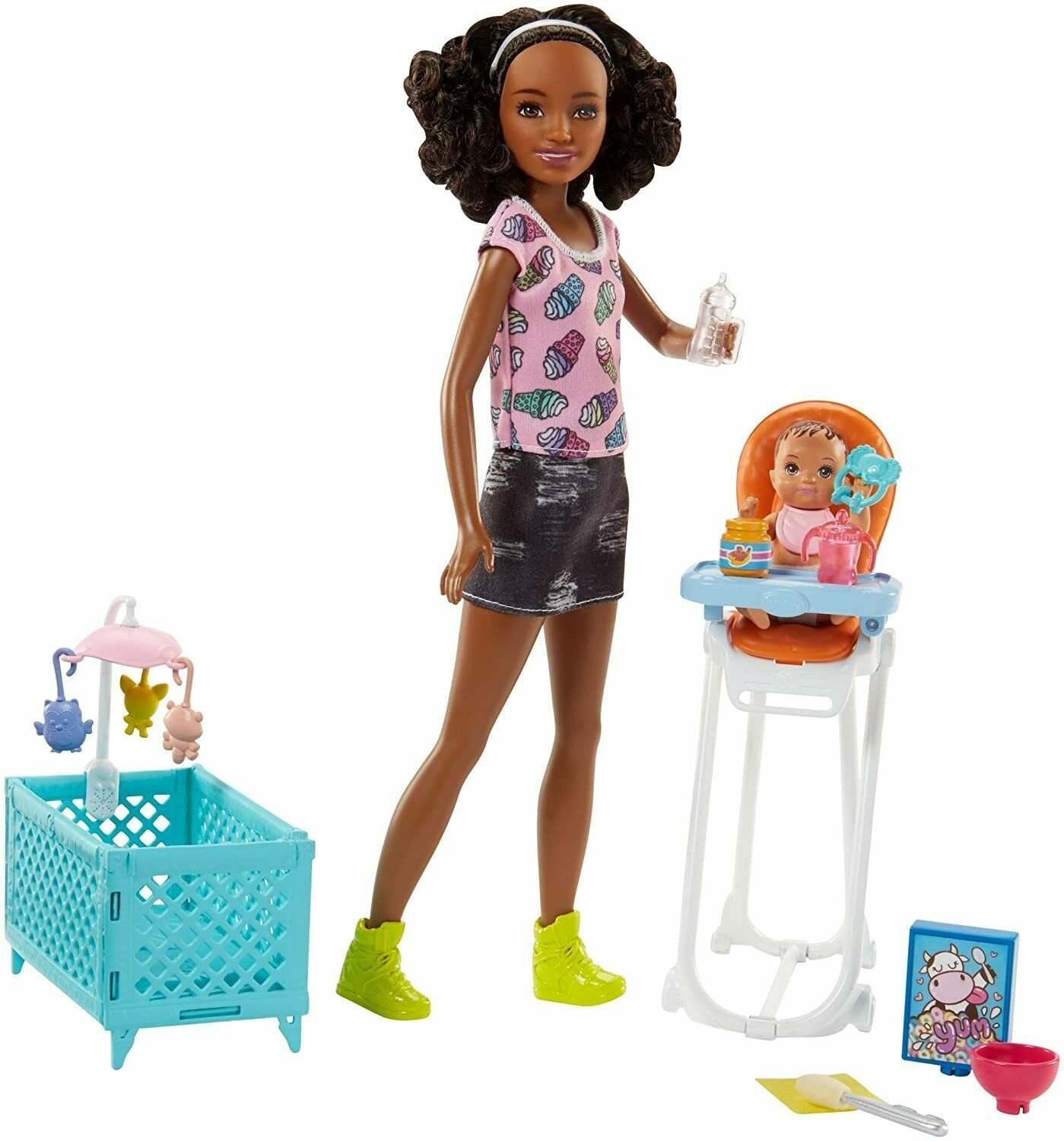 Barbie Quiero Be Nanny, Doll with Baby, Highchair And Cot (Mattel FHY99 - $243.72
