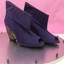 Jeffrey Campbell Women's Shoe Suede Peep Toe Booties Purple Faux Snakesk... - $92.06