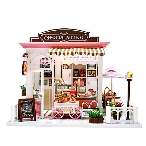 Miniature Dollhouse Kit DIY Dollhouse Wooden Miniature Furniture Kit Mini Pink C