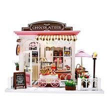 Miniature Dollhouse Kit DIY Dollhouse Wooden Miniature Furniture Kit Mini Pink C image 1