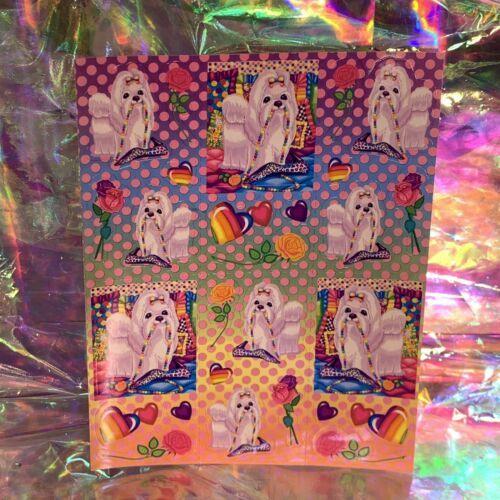 MINT Vintage Lisa Frank Princess Puppies & Pearls  Sticker Sheet PERFECT FULL