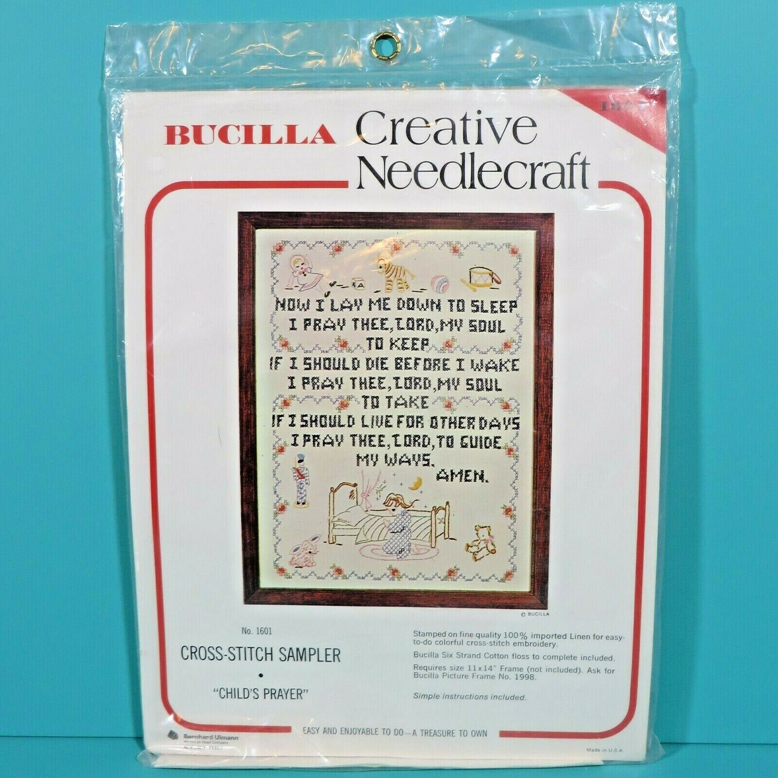 Primary image for Bucilla Creative Needlecraft Childs Prayer Cross Stitch Sampler Kit 1601 Vintage
