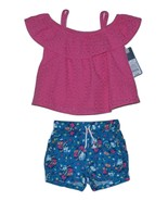 OshKosh Genuine Kids Top and Shorts Pink and Blue Size 12M - $10.00