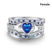 Fashion Couple Ring Female Zircon Ring Set Wedding Engagement Ring Male Stainles image 3