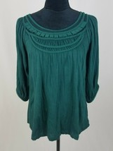 Anthropologie Deletta women M 3/4 sleeve blouse green top - $16.83