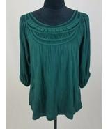 Anthropologie Deletta women M 3/4 sleeve blouse green top - $16.83